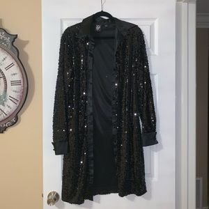 NY&C Full Sequin Button Front Evening Coat/Dress